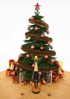 Free Christmas Tree With Gifts And Champagne Royalty Free Stock Image - 17337586
