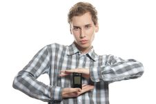 Free Man With Mobile Phone Over White Royalty Free Stock Photography - 17337987