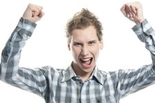 Shouting Man Over White Royalty Free Stock Images