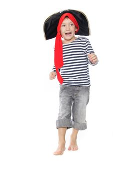 Boy Dressed As Pirate Over White Stock Image