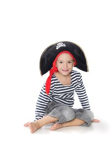 Boy Dressed As Pirate Over White Royalty Free Stock Photo