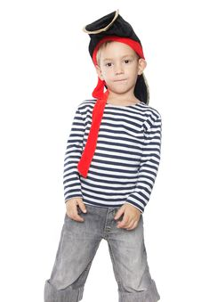 Boy Dressed As Pirate Over White Stock Photography