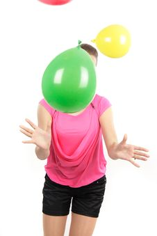 Free Girl Playing With Balloons Over White Royalty Free Stock Photography - 17338057