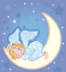 Free Angel Sleeping On The Moon Stock Photography - 17338112
