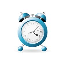 Blue Old Style Alarm Clock Royalty Free Stock Photos