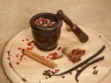 Free Mix Of The Spices With The Mortar Stock Image - 17338361