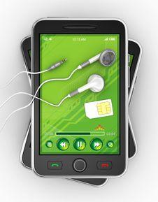 Free Black Smartphones And Earphones - 3D Render Royalty Free Stock Photos - 17338688