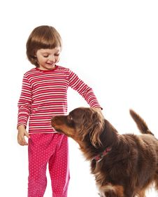 Little Girl And Her Dog Isolated Stock Photography