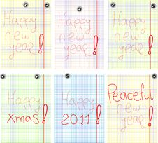 Free Set Of Greetings With New Years In Colorful Page Stock Photography - 17338702