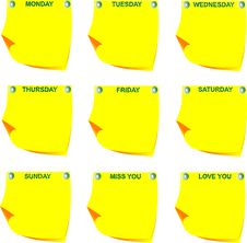 Free Days Of The Week On Yellow Note Paper Royalty Free Stock Image - 17338716
