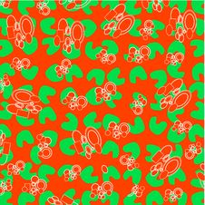 Decorative Green Floral On Abstract Red Background Stock Photo