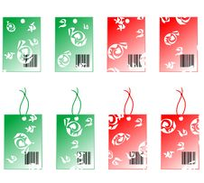 Free Label Sticker Red And Green With Abstract Ornament Royalty Free Stock Photo - 17338885