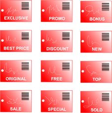 Red Tag And Sticker Set With Bar Codes And Abstrac Stock Photos