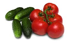 Free Ripe Tomatoes And Cucumbers Stock Photography - 17339502