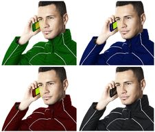 Free Man With Cell Phone 2. Colored.| Isolated Stock Image - 17339691