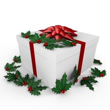 Free A Holiday Gift With Mistletoe - A 3d Image Stock Photography - 17339762