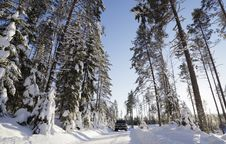 Suv, Car, Driving In Snowy Country Royalty Free Stock Images