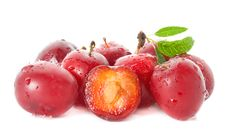 Free Wet Ripe Plums Royalty Free Stock Image - 17339956