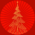 Free Christmas Fir-tree On Red Royalty Free Stock Photos - 17346328