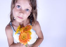 Free Little Girl With Flowers Royalty Free Stock Photos - 17340118