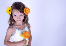 Free Little Girl With Flowers Stock Photo - 17340140