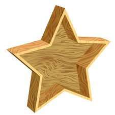 Free 3d Wooden Star Royalty Free Stock Images - 17340159