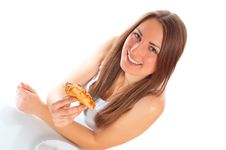 Free Beautiful Woman With A Pizza Royalty Free Stock Photography - 17340637