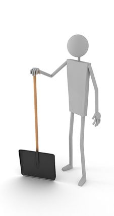 Man With Snow Shovel Royalty Free Stock Photography