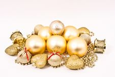 Free Golden Christmas Ornaments Stock Photography - 17341542
