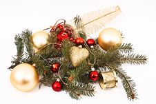 Gold Christmas Baubles Royalty Free Stock Photo