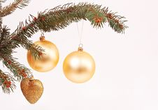 Golden Globes And Christmas Decorations Royalty Free Stock Photo