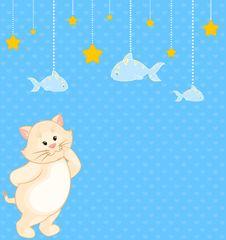 Free Cartoon Little Kitten With Fish Stock Image - 17342411