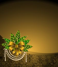 Free Christmas Golden Bow Royalty Free Stock Photos - 17342558