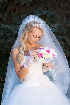 Free Bride Holding A Bouquet Of Hand Stock Image - 17343281