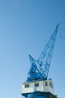 Blue Crane Against Blue Skies Stock Photo