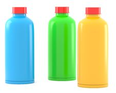 Free Three Color Plastic Bottles Royalty Free Stock Photography - 17344337