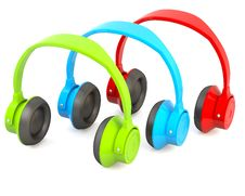 Free Green, Blue And Red Headphones Stock Image - 17344351
