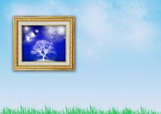 Golden Picture Frame With White Tree Picture Stock Image