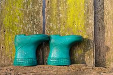Free Little Blue Boots On The Wall Stock Photography - 17344742
