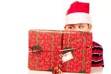 Free Christmas Boy And Present Stock Images - 17344824