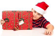 Free Christmas Boy And Present Royalty Free Stock Photos - 17344848