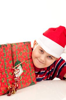 Free Christmas Boy And Present Royalty Free Stock Photo - 17344865