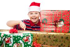 Christmas Boy And Present Royalty Free Stock Images