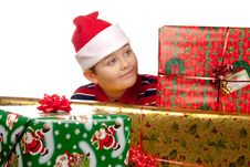 Free Christmas Boy And Present Royalty Free Stock Photos - 17344898