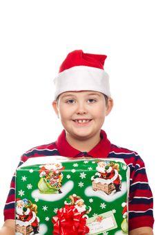 Free Christmas Boy And Present Stock Photos - 17344903