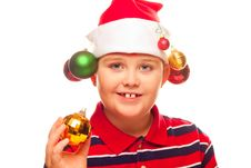 Free Christmas Boy With Santa Hat Royalty Free Stock Images - 17344939