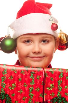 Free Christmas Boy With Santa Hat Royalty Free Stock Photo - 17344975