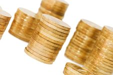 Free Golden Coins Isolated Over White Royalty Free Stock Images - 17345199