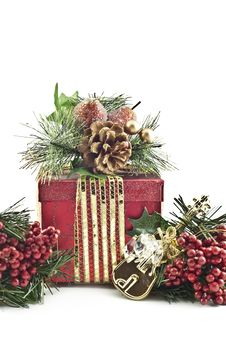 Christmas Present With Decorations Royalty Free Stock Photo