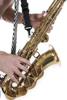 Plays A Saxophone Royalty Free Stock Images